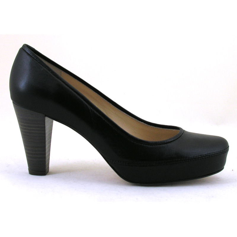 3461dc752d27 Nubia Soft Black Leather High Heel Court Shoe from Unisa